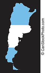map and flag of Argentina on black background
