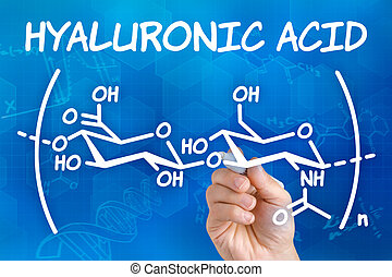 Hand with pen drawing the chemical formula of hyaluronic...