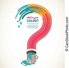 question mark - color splash, creative concept - what color...