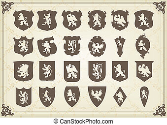Vintage royal coat of arms elements lion - Vintage royal...