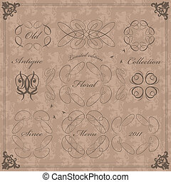Vintage elements vector set background