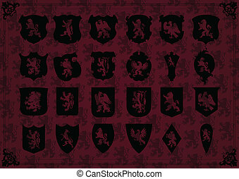 Vintage coat of arms detailed shields background vector