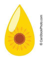 Sunflower seed oil drop vector background energy concept for...