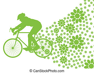 Ecology bike driving vector background concept on white