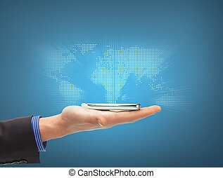 man hand with smartphone and virtual world map - business,...