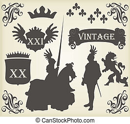 Medieval knight horseman and vintage elements vector...