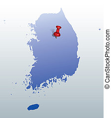 blue map of Korea with push pin