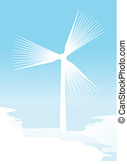 Wind electricity generators vector background for poster