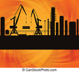 Oil refinery station background illustration vector