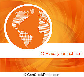 Orange globe concept vector background with map for poster