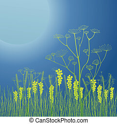Huge moon with grass and flowers vector background for...
