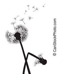 black dandelions on white