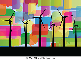 Colorful wind electricity generators abstract lines ecology silhouettes illustration background vector