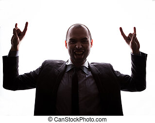 Caucasian businessman silhouette on the white background