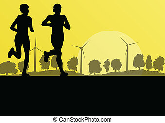 Women marathon runners in wild countryside forest nature...