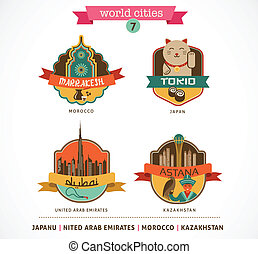 World Cities labels - Marrakesh, Tokio, Astana, Dubai, -...