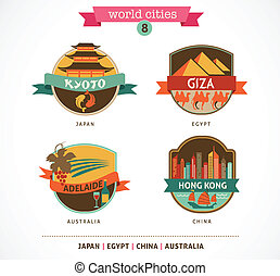 World Cities labels - Kyoto, Giza, Adelaide, Hong Kong, -...
