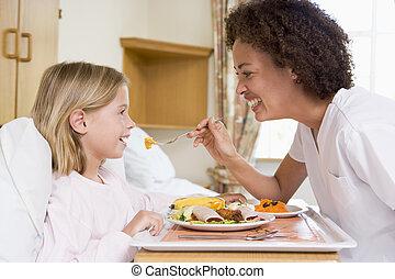 enfermeira, alimentação, jovem, menina