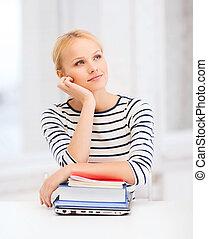 Soñar, Estudiante, computador portatil, Libros,...