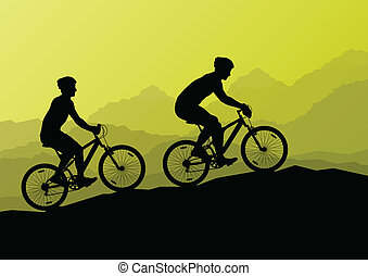 Active cyclists bicycle riders in wild mountain nature landscape background illustration vector for poster