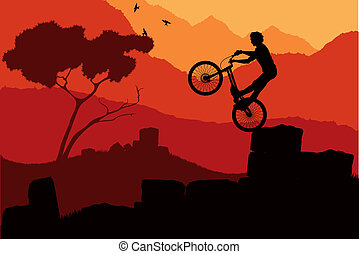 Mountain bike trial rider vector background
