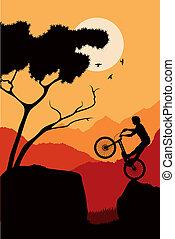 góra, Rower, próba, jeździec, Wektor