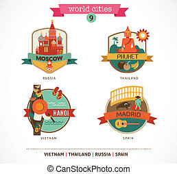 World Cities labels - Moscow, Phuket, Madrid, Hanoi - World...