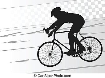 Sport road bike rider bicycle silhouette vector background