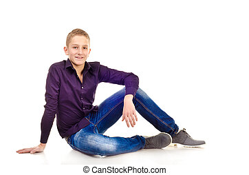 teenage boy isolated on a white background