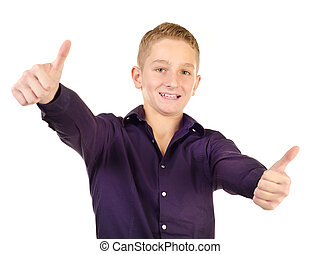 teenage boy giving thumbs up isolated on a white background