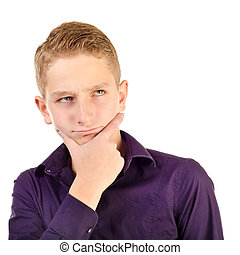 teenage boy - thinking teenage boy isolated on a white...