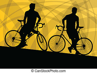 Active cyclist bicycle rider active sport silhouette vector...