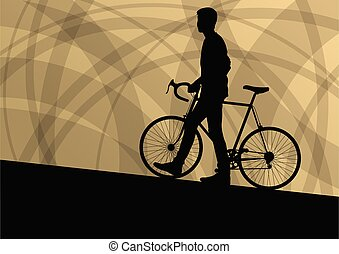 Active cyclist bicycle rider active sport silhouette vector background illustration for poster