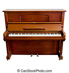 brown piano isolated on a white background