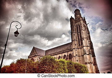 gothic church - old gothic church in Compiegne, France