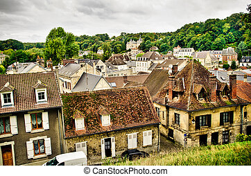 town in France - roofs of little town in France