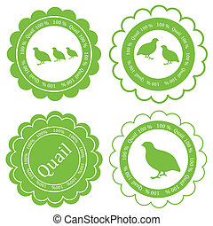 Quail meat vector background label stamp green farm concept...