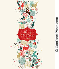 Merry Christmas pattern banner - Vintage Christmas banner...
