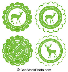 Game meat vector background label stamp green concept - Game...