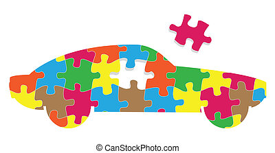 Car puzzle vector background