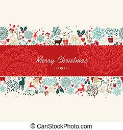 Merry Christmas vintage pattern greeting card - Vintage...