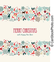 Merry Christmas vintage seamless pattern