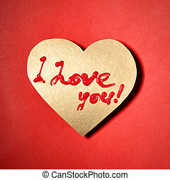 """I love you - Text """"I love you"""" on paper heart"""