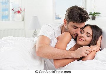 夫婦, 年輕, 成人, 寢室