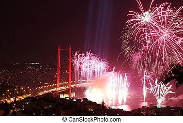 Istanbul Bosphorus Bridge and Fireworks