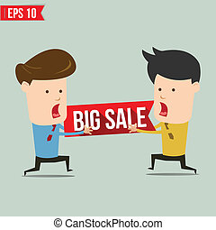 Man snatch bigh sale tag - Vector illustration - EPS10