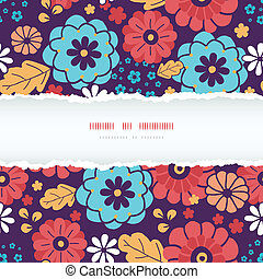 Colorful bouquet flowers horizontal torn frame seamless...