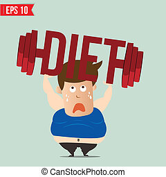 Cartoon lifting barbell for diet - Vector illustration -...