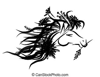 Horse floral head for your design. Symbol of 2014 year
