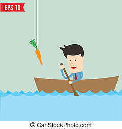 Cartoon business man rowing a boat try to reach carrot -...
